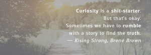 """Curiosity is a shit-starter. But that's okay. Sometimes we have to rumble with a story to find the truth."" - Rising Strong, Brené Brown"